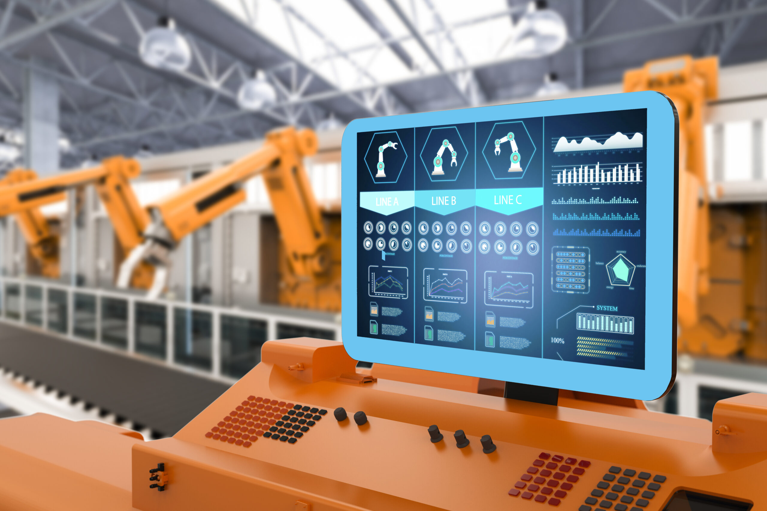 Automation factory concept with 3d rendering control panel screen with robotic arms