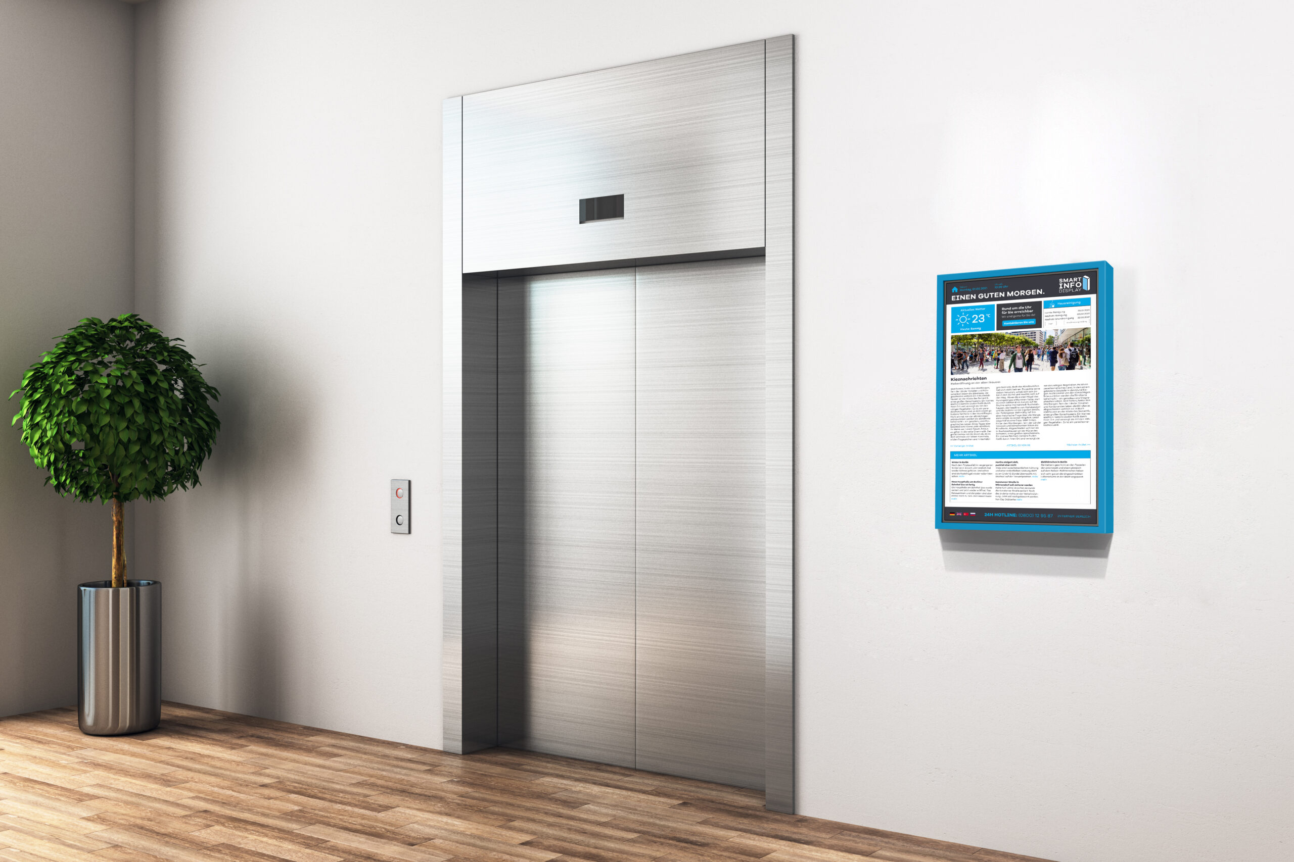 White modern interior with elevator and blank glass poster. Mock up, 3D Rendering