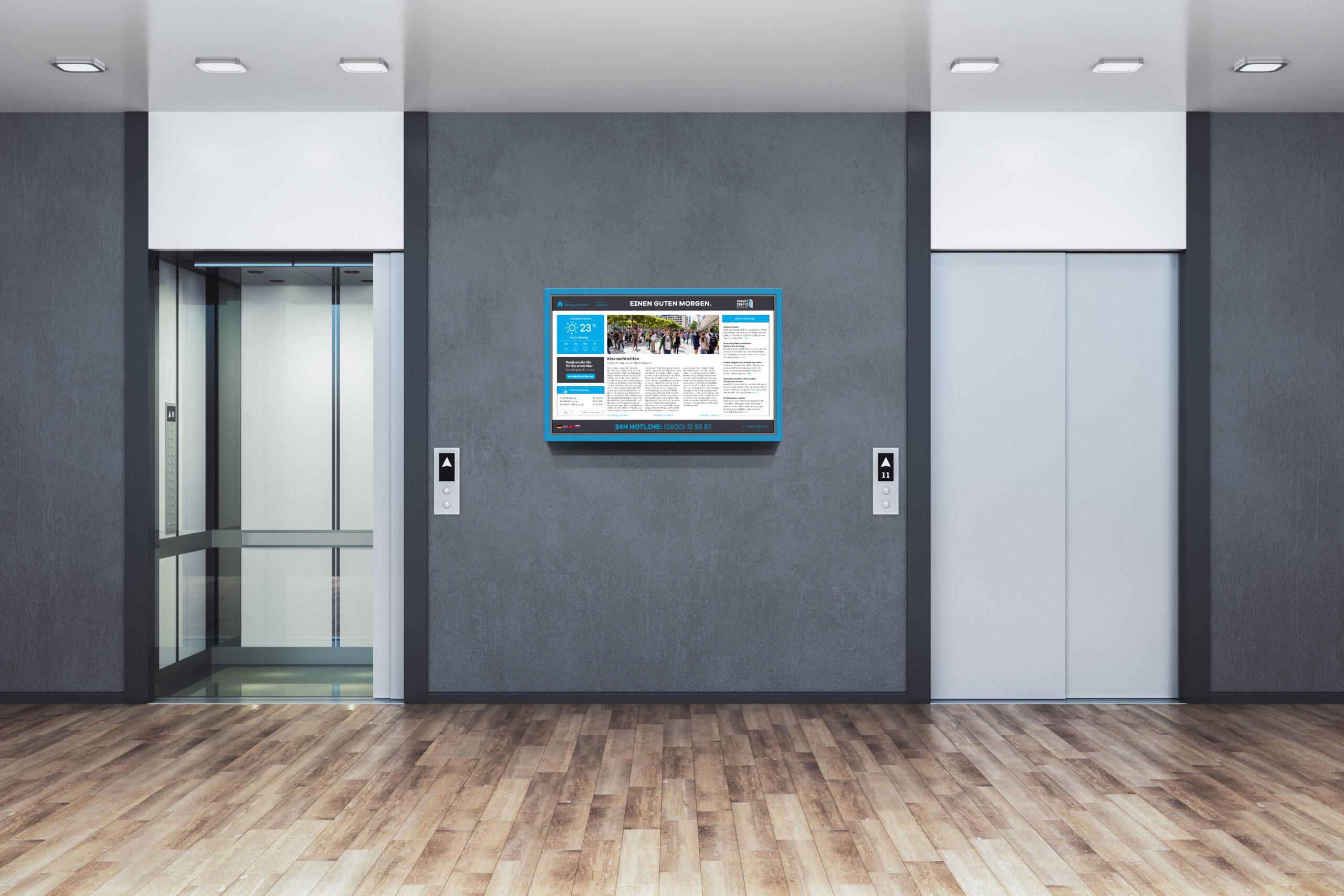 Contemporary office interior with two elevator. Startup and entrepreneurship concept. 3D Rendering